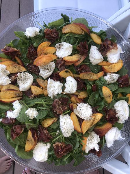 Crispy Prosciutto, Burrata & Peach Salad